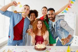 Office Birthday Happy Coworkers With Cake At Office Birthday Party Stock Photo