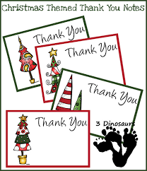 Free Christmas Thank You Notes | 3 Dinosaurs
