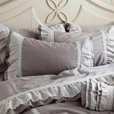 grey ruffle queen duvet cover set