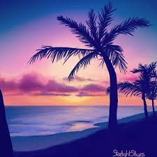 palm tree sunset painting did this while streaming on twitch art painting