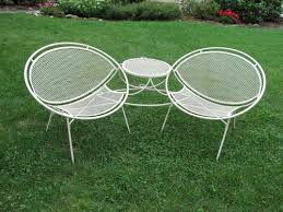 wrought iron patio furniture vintage. salterini teteatete wrought iron patio clam shell chair furniture vintage