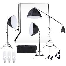 photography studio lighting softbox photo light muslin backdrop stand kit with three 60cm octagon softbox cantilever light stand bulbs white black backdrop