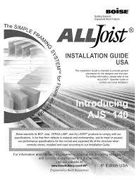 Boise Cascade I Joist Hole Chart I Joist Installation Guide Manualzz Com