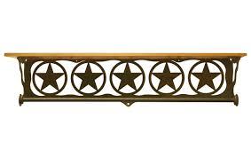 Texas Star Bathroom Accessories 34 Texas Star Scene Metal Towel Bar With Alder Wood Top Wall