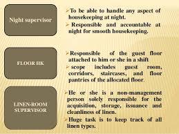 Housekeeping Department Functional Chart Functions Of Houskeeping Department