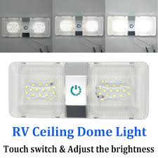 Caravan Light Switch Details About Double Dome Ceiling Light Switch 48 Led Interior Roof Rv Boat Caravan Lamp 12v