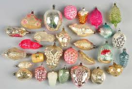 group of vintage glass ornaments