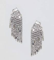 at asos true decadence silver diamante chandelier earrings