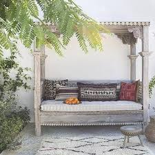 Mediterranean Style Backyard with Outdoor Canopy Daybed   Outdoor ...