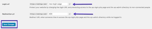 your wordpress login url change