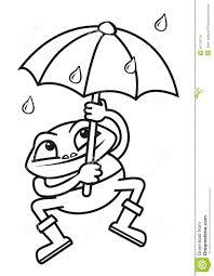 Grenouille Et Parapluie Colorant Illustration De Vecteur