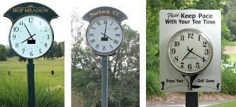solar post clock combines the old world charm of a post clock with advanced solar technology they elegantly unite practice areas and first tee operations