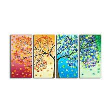 La Vie 4 Teilig Wandbild Bunter Baum Mit Gemälde Hochwertiger