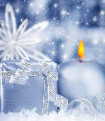 Winter Holiday Background With Blue Silver Present Gift Box