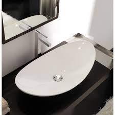 oval shaped white ceramic vessel sink