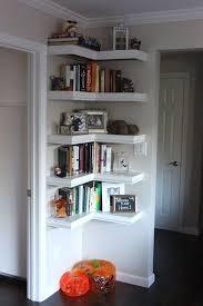 Furnitures:Hallway Decor With Floating Corner Shelves And Dark Floor  Hallway Decor With Floating Corner