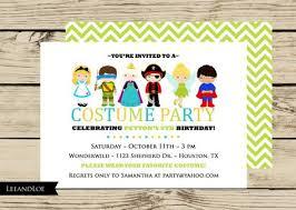 Costume Birthday Party Invitation Princess Ninja Pirate