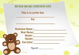 Build A Bear Certificate Template Build A Bear Certificate