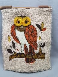 mid century modern mcm hooked rug tapestry wall hanging owl it s a hoot