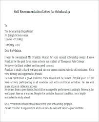 Self Recommendation Letter Interesting Scholarship Template