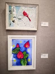 Top: Ida Bradley Serene Mixed Media Bottom: Damon Phelps Laceleaf Blues  Watercolor – ART CENTER OF CITRUS COUNTY
