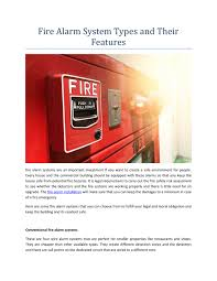 fire alarm system types and their features n