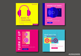 Four Colorful Square Music Social Media Post Layouts Buy This Stock