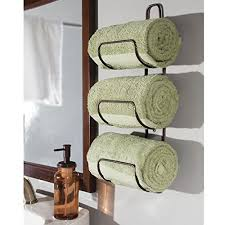 bath towel storage. Amazon.com: MDesign Wall Mount Or Over Door Bathroom Towel Holder Bar -  Bronze: Home \u0026 Kitchen Bath Towel Storage