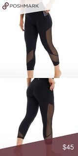 Black Mesh Pocket Crop High Waist Leggings Nwt Bally Total