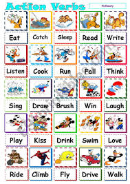Verb Action Action Verb Pictionary Esl Worksheet By Mazothegreat