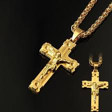 18k gold plated pendant cool christ cross necklace hip hop chain necklace