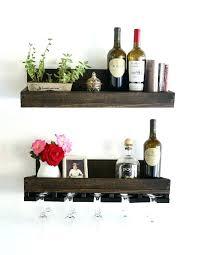 wine glass rack shelf rustic wall hanging stemware