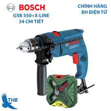 Mua Máy khoan động lực Máy khoan gia đình Bosch GSB 550 tặng bộ X-Line 34  chi tiết Công suất 550W bảo hành điện tử 6 tháng giá chỉ 1.167.000₫