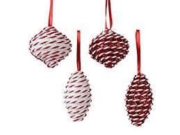 Tfh Weihnachtsschmuck Hänger Kugelmix Rot Weiß 4er Set