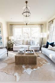 cowhide rug for natural living room design