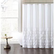 Plain White Shower Curtains Ruffle Curtain Allmodern In Beautiful Ideas