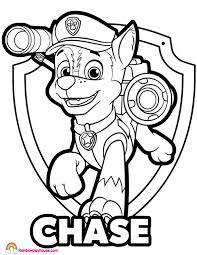 Paw Patrol Chase Badge Coloring Page Rainbow Playhouse Coloring