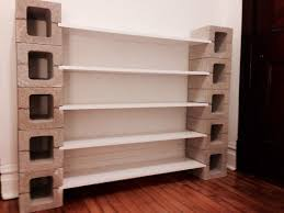 5 Tier White Polished Wooden Open Shelves With Unpolished Concrete ...
