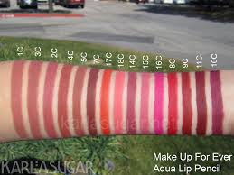 make up for ever aqua lip lipliners swatches karlgar karla sugar