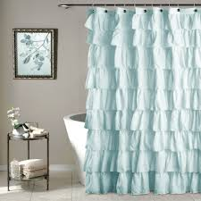 Simple White Ruffle Shower Curtain H Inside Design Decorating