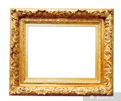 vintage gold frame isolated on white vinyl wall mural signs and symbols