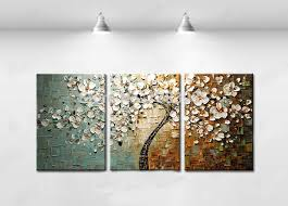 wall art ideas design handpainted abstract three piece wall art flowers petal style textured painting decorations expensive modern best three piece wall