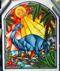 brontosaurus stained glass window drawing all finished art regarding stained glass art markers with regard to home