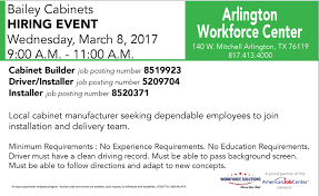Bailey Cabinet Company Bailey Cabinet Hiring Event At Arlington Workforce Center