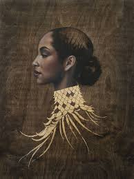 sade in another time by sara golish oil gold leaf on wood panel