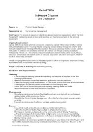 Cleaning Job Description For Resume Resume Ideas House Cleaning