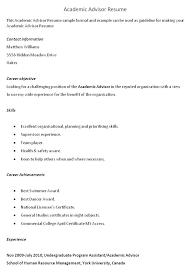Academic Advisor Resume Cover Letter Sample Resume Template