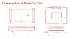 8 Foot Billiards Pool Table Dimensions Drawings