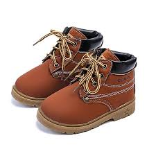 new baby kids boy girl leather snow boots lace up winter warm shoes fashion gift brown