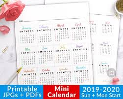 Small Printable 2020 Calendar 2019 2020 Bullet Journal Mini Calendars For Future Log Bullet Journal Month Bujo Dates Journal Calendar Printable Planner Stickers